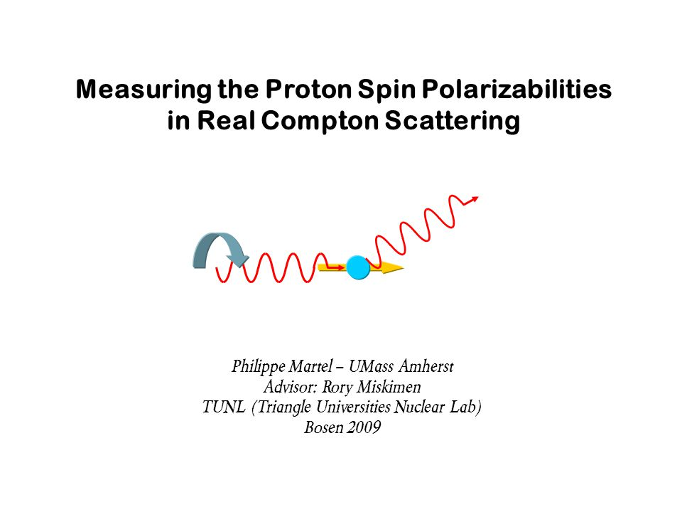 Measuring the Proton Spin Polarizabilities in Real Compton Scattering Philippe Martel – UMass Amherst Advisor: Rory Miskimen TUNL (Triangle Universities Nuclear Lab) Bosen 2009