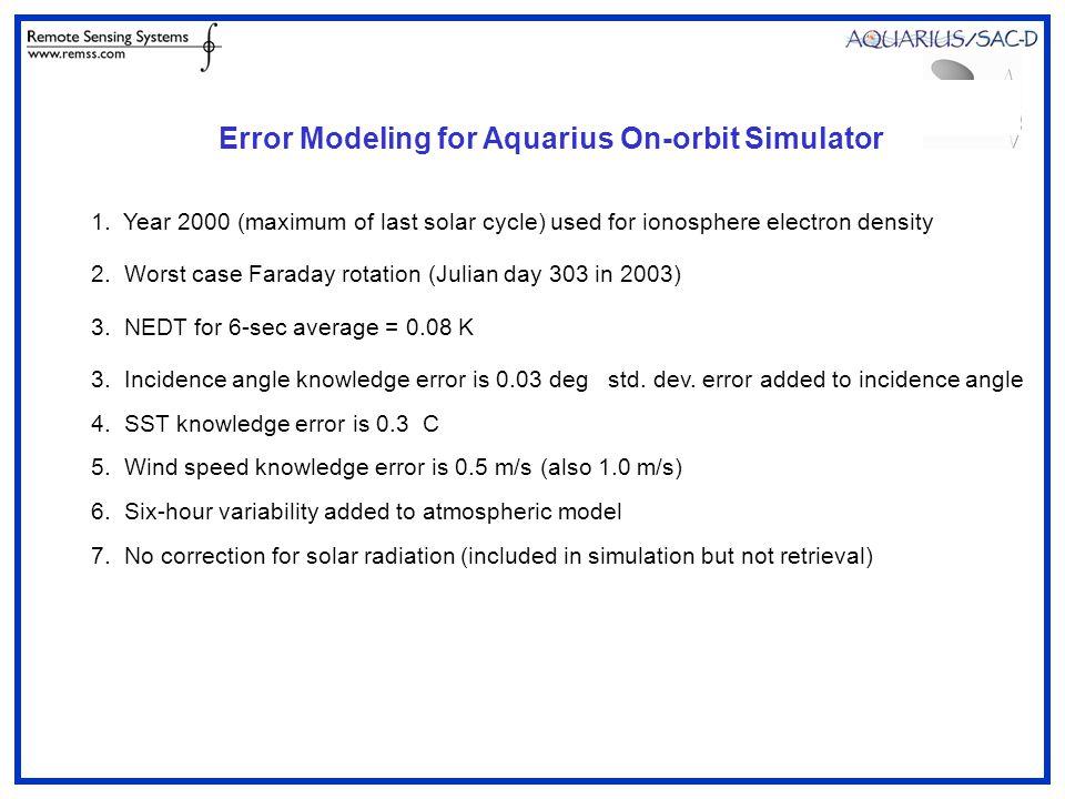 Error Modeling for Aquarius On-orbit Simulator 1.
