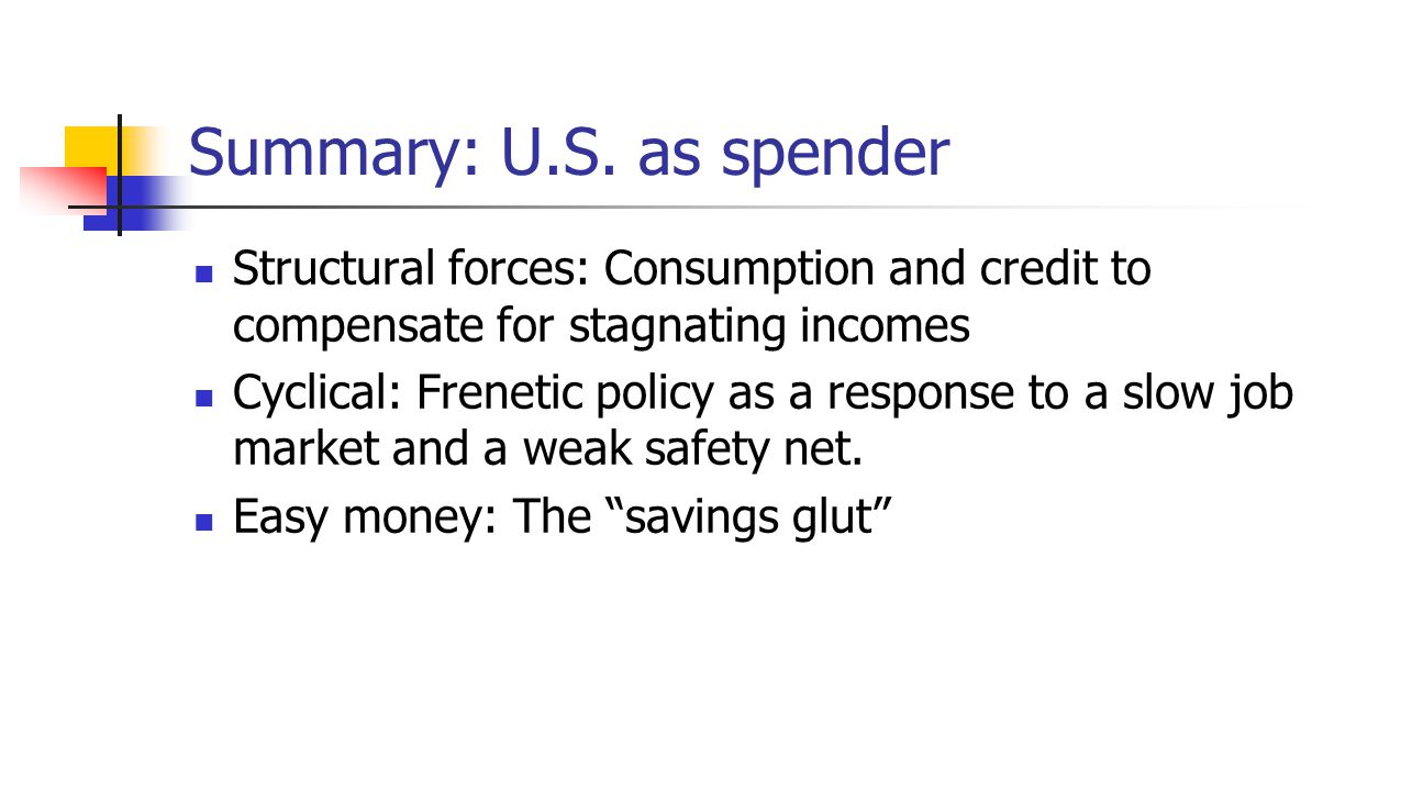 Summary: U.S. as spender Structural forces: Consumption and credit to compensate for stagnating incomes Cyclical: Frenetic policy as a response to a s