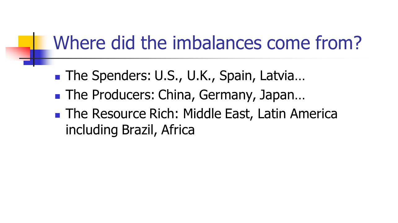 Where did the imbalances come from.