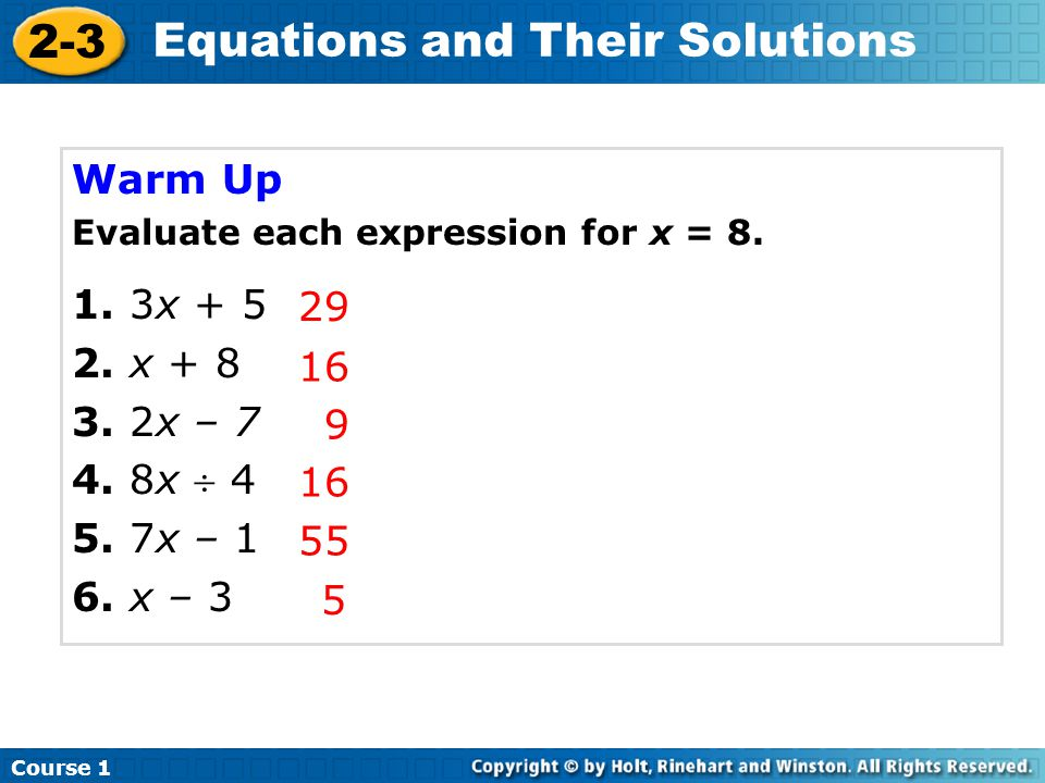 29 16 9 Warm Up Evaluate each expression for x = 8.