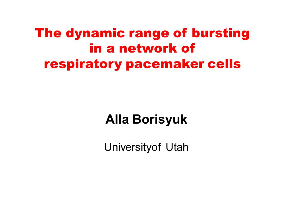 The dynamic range of bursting in a network of respiratory pacemaker cells Alla Borisyuk Universityof Utah