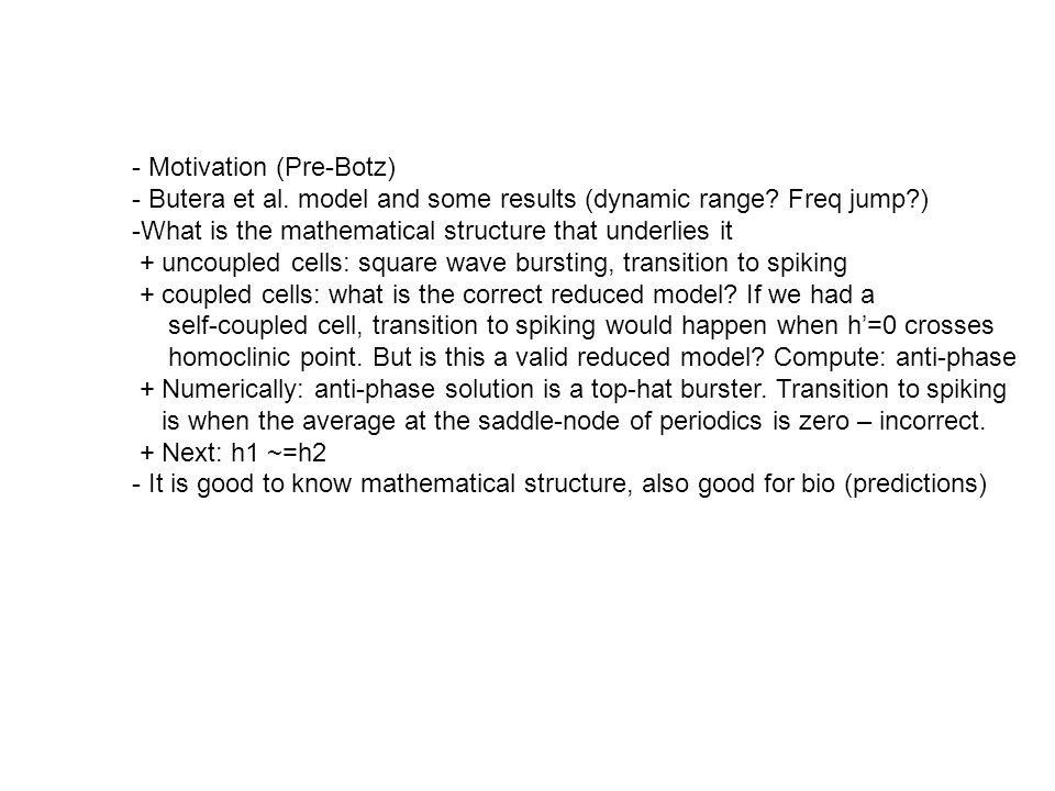 - Motivation (Pre-Botz) - Butera et al. model and some results (dynamic range.