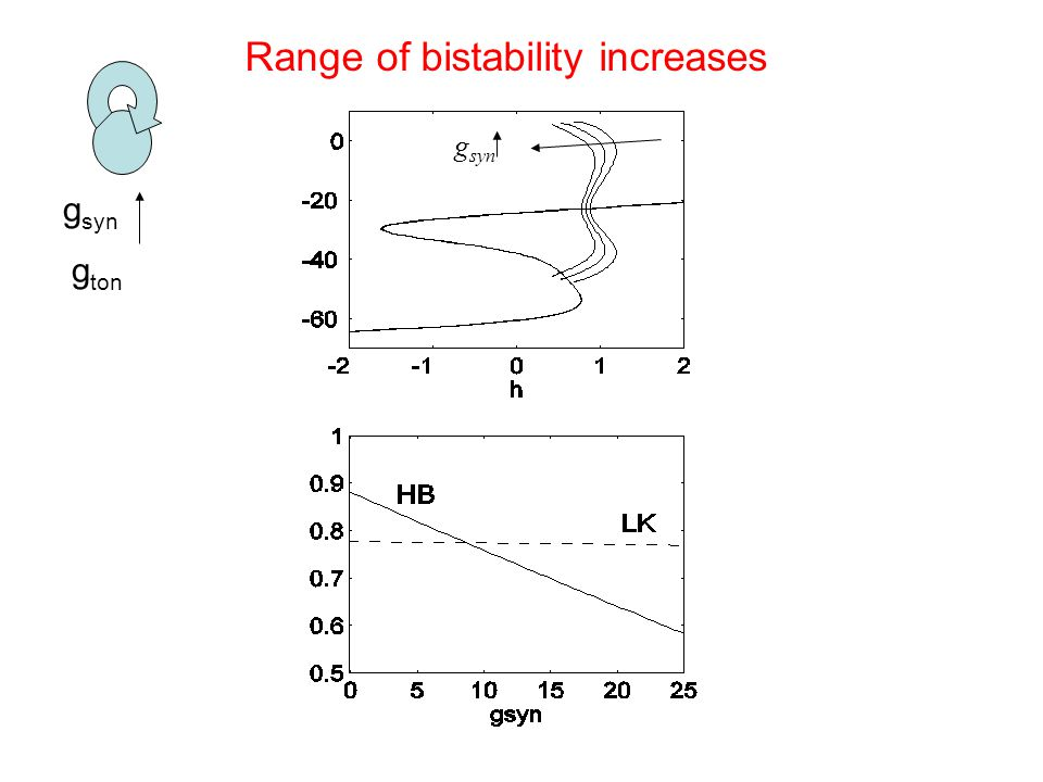 g syn g ton g syn Range of bistability increases