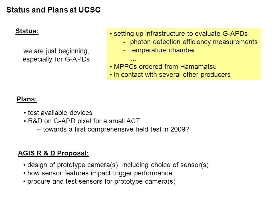 Status and Plans at UCSC setting up infrastructure to evaluate G-APDs -photon detection efficiency measurements -temperature chamber -… MPPCs ordered from Hamamatsu in contact with several other producers Status: Plans: test available devices R&D on G-APD pixel for a small ACT – towards a first comprehensive field test in 2009.