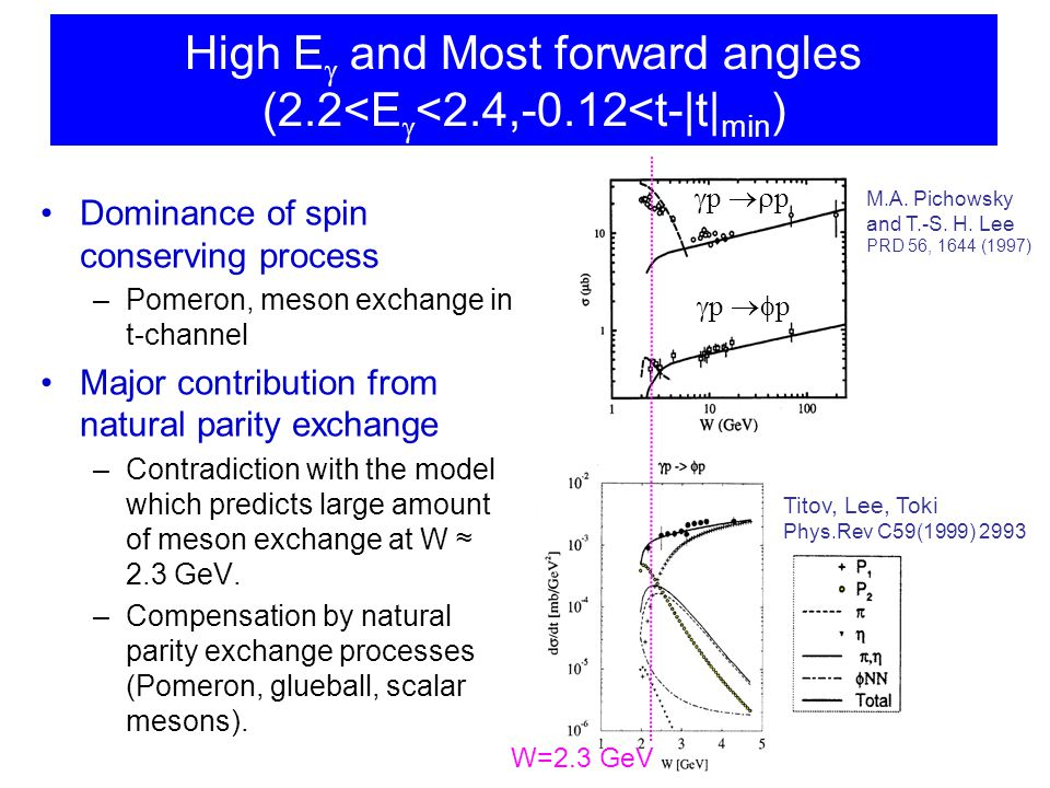 High E  and Most forward angles (2.2<E  <2.4,-0.12<t-|t| min ) Dominance of spin conserving process –Pomeron, meson exchange in t-channel Major contribution from natural parity exchange –Contradiction with the model which predicts large amount of meson exchange at W ≈ 2.3 GeV.