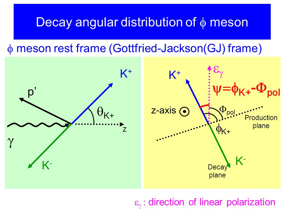 Decay angular distribution of  meson  K+ K+K+ K-K-  p'  meson rest frame (Gottfried-Jackson(GJ) frame)  K+ K+K+ K-K-   pol Production plane z Decay plane z-axis  K+ -  pol    direction of linear polarization