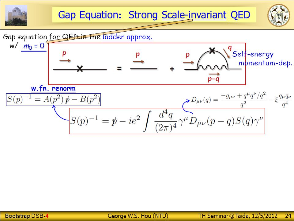 Bootstrap Bootstrap DSB-4 George W.S. Hou (NTU) TH Seminar @ Taida, 12/5/2012 24 Gap Equation : Strong Scale-invariant QED Gap equation for QED in the