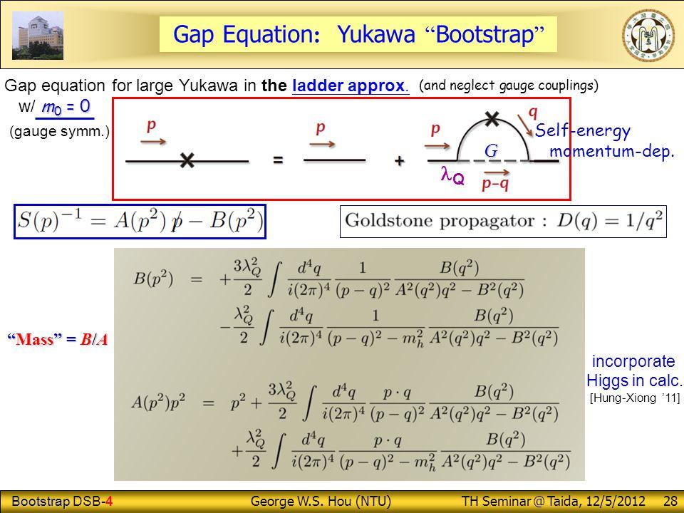 "Bootstrap Bootstrap DSB-4 George W.S. Hou (NTU) TH Seminar @ Taida, 12/5/2012 28 Gap Equation : Yukawa "" Bootstrap "" Gap equation for large Yukawa in"