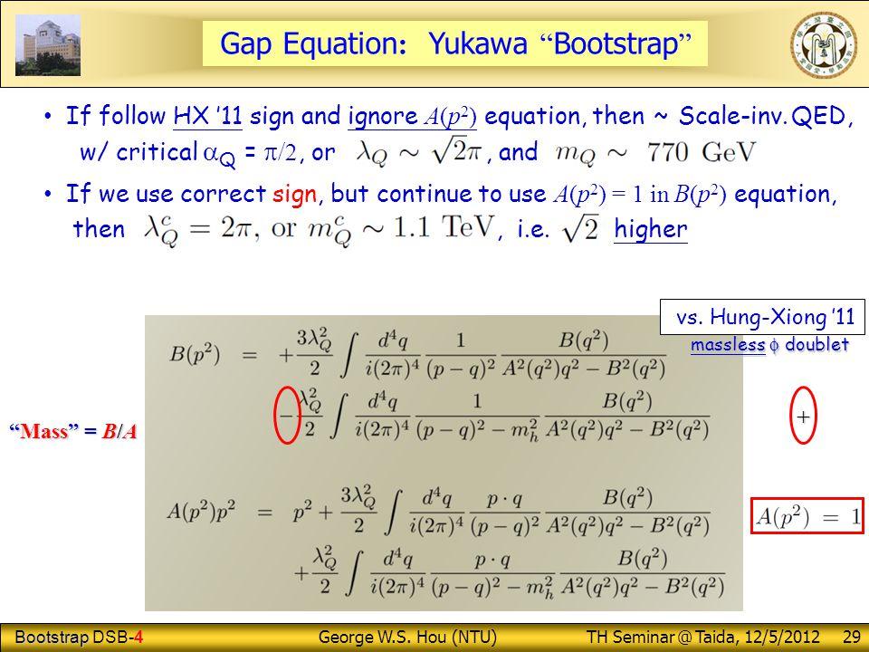 "Bootstrap Bootstrap DSB-4 George W.S. Hou (NTU) TH Seminar @ Taida, 12/5/2012 29 Gap Equation : Yukawa "" Bootstrap "" ""Mass"" = B/A If follow HX '11 sig"