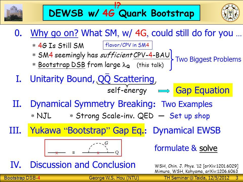 Bootstrap Bootstrap DSB-4 George W.S.Hou (NTU) TH Seminar @ Taida, 12/5/2012 3 I.
