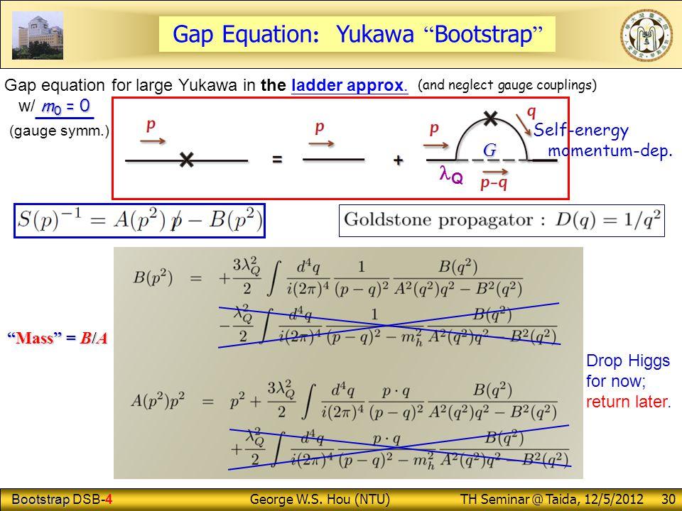 "Bootstrap Bootstrap DSB-4 George W.S. Hou (NTU) TH Seminar @ Taida, 12/5/2012 30 Gap Equation : Yukawa "" Bootstrap "" ""Mass"" = B/A Drop Higgs for now;"