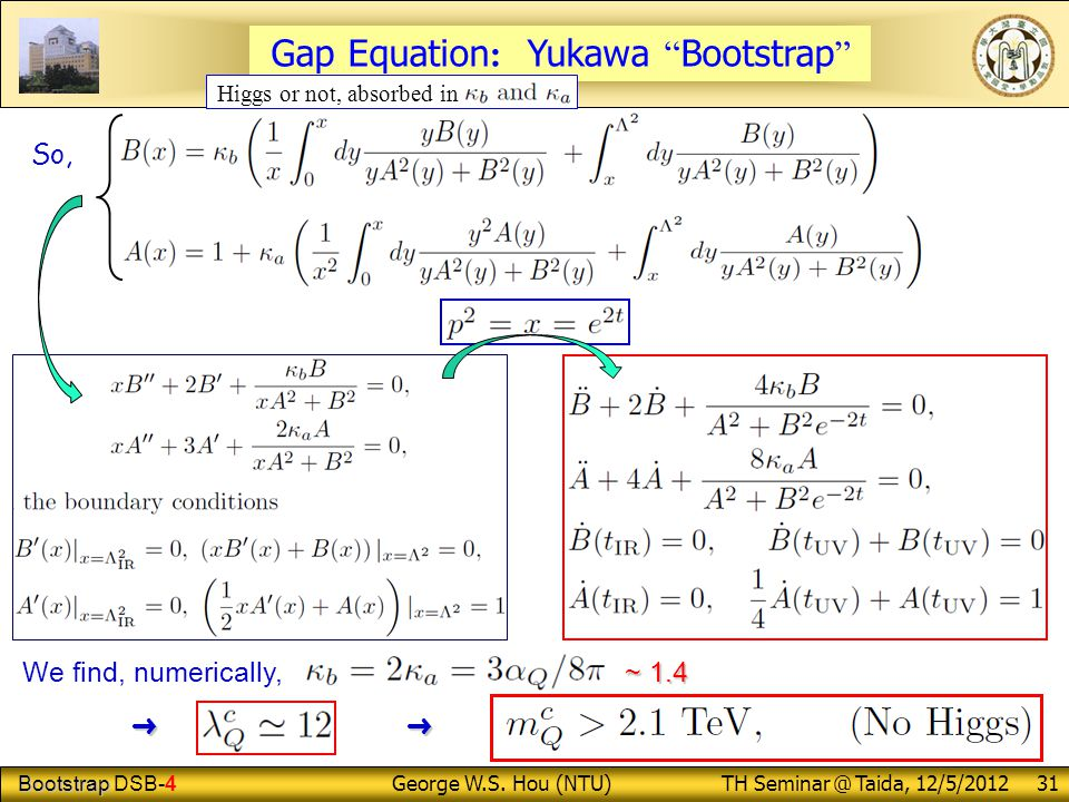 "Bootstrap Bootstrap DSB-4 George W.S. Hou (NTU) TH Seminar @ Taida, 12/5/2012 31 So, ~ 1.4 We find, numerically, ~ 1.4 ➜ ➜ ➜ ➜ Gap Equation : Yukawa """
