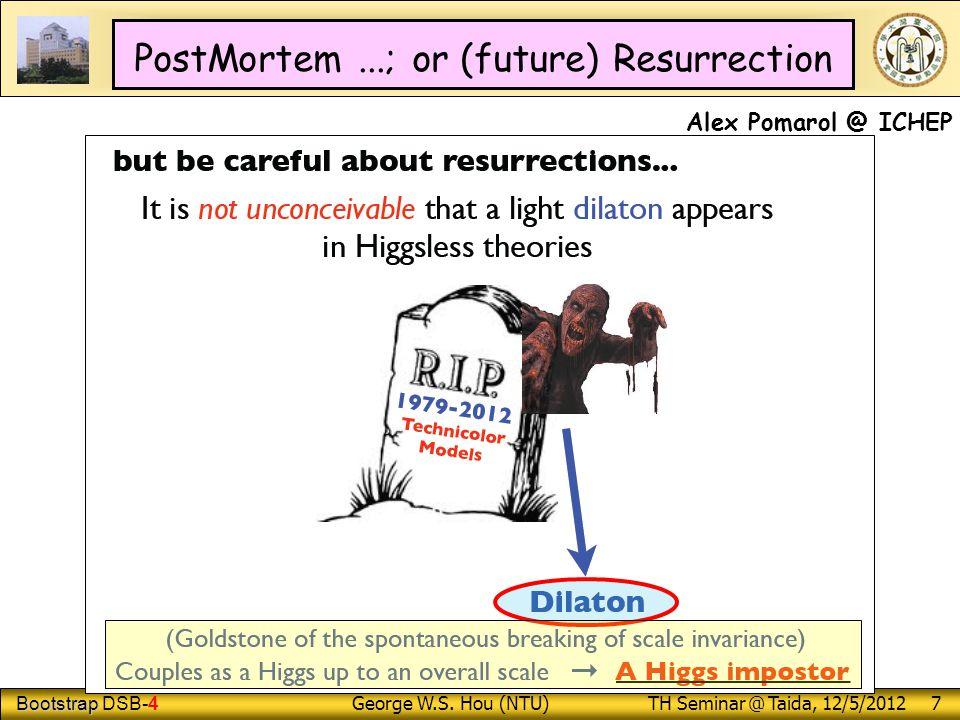 Bootstrap Bootstrap DSB-4 George W.S. Hou (NTU) TH Seminar @ Taida, 12/5/2012 7 PostMortem...; or (future) Resurrection Alex Pomarol @ ICHEP