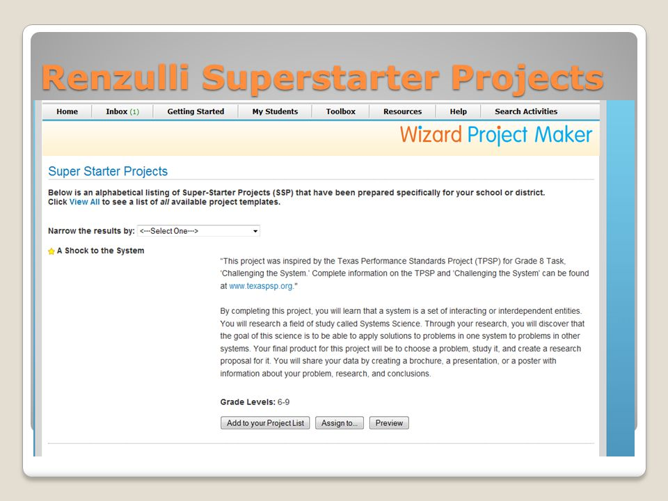 Renzulli Superstarter Projects