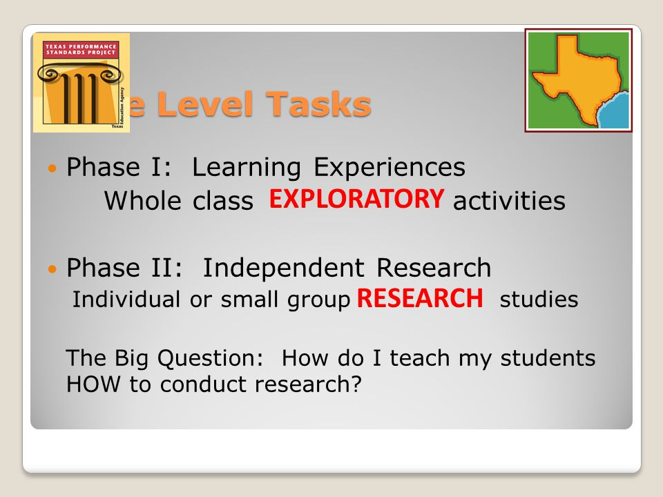TPSP Grade Level Tasks Phase I: Learning Experiences Whole class activities Phase II: Independent Research Individual or small group studies The Big Question: How do I teach my students HOW to conduct research.
