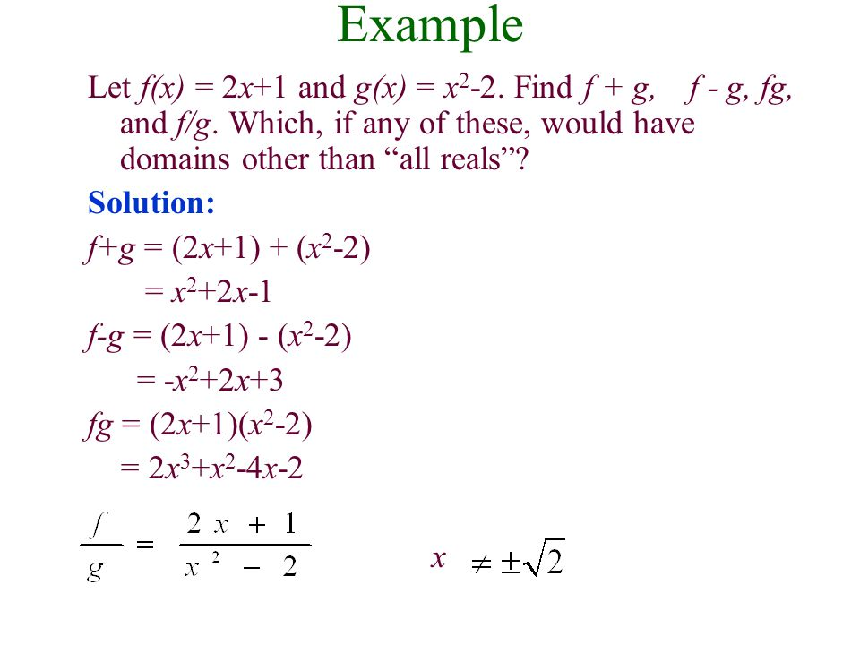Definitions: Sum, Difference, Product, and Quotient of Functions Let f and g be two functions.