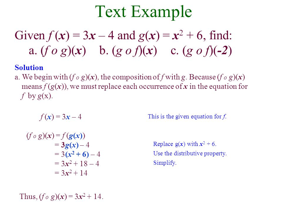 The Composition of Functions The composition of the function f with g is denoted by f o g and is defined by the equation (f o g)(x) = f (g(x)). The do
