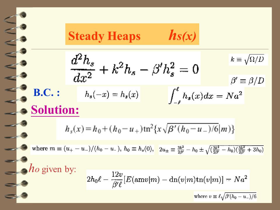 Steady Heaps h s(x) B.C. : Solution: h o given by: