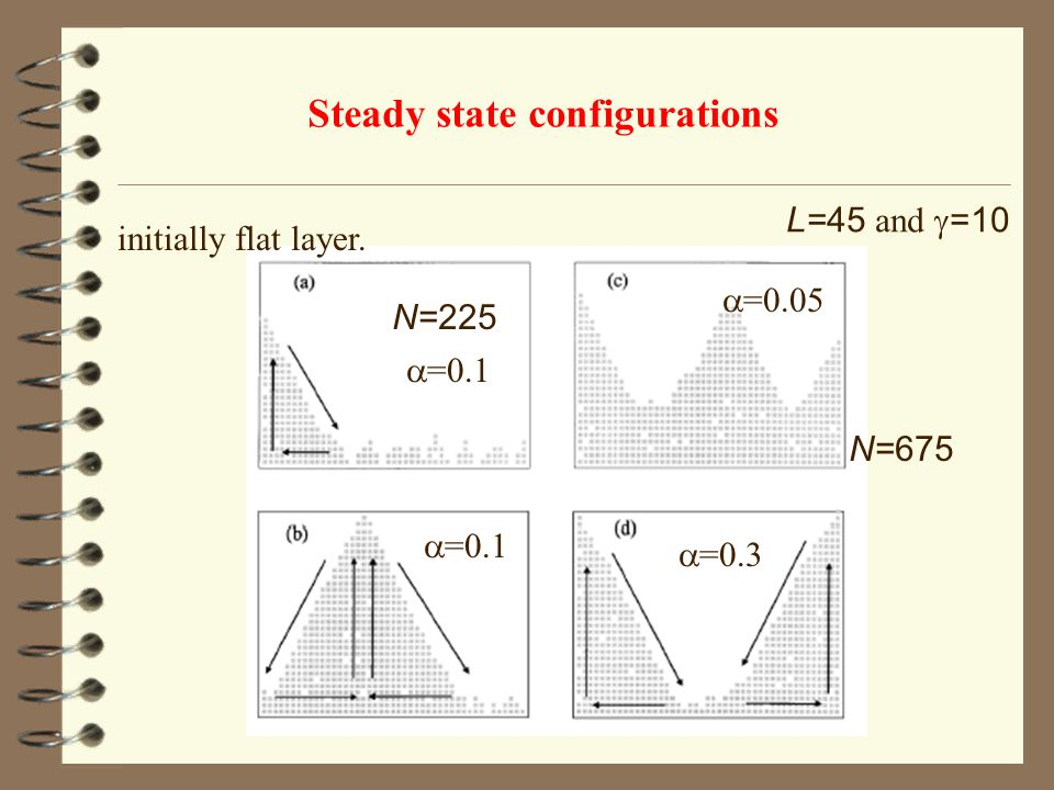 Steady state configurations initially flat layer. L=45 and  =10 N=225 N=675  =0.1  =0.05  =0.3