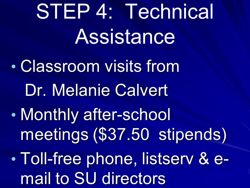 Step 3: Implementation Pre-testing (week of 9/30) of all students in class Identification Identification of G/T students in regular classrooms(10/1) Classroom Implementation (9/30/04—6/05)