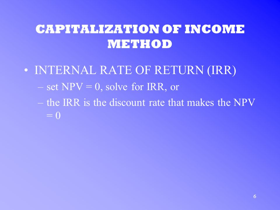 7 CAPITALIZATION OF INCOME METHOD APPLICATION TO COMMON STOCK –substituting determines the true value of one share