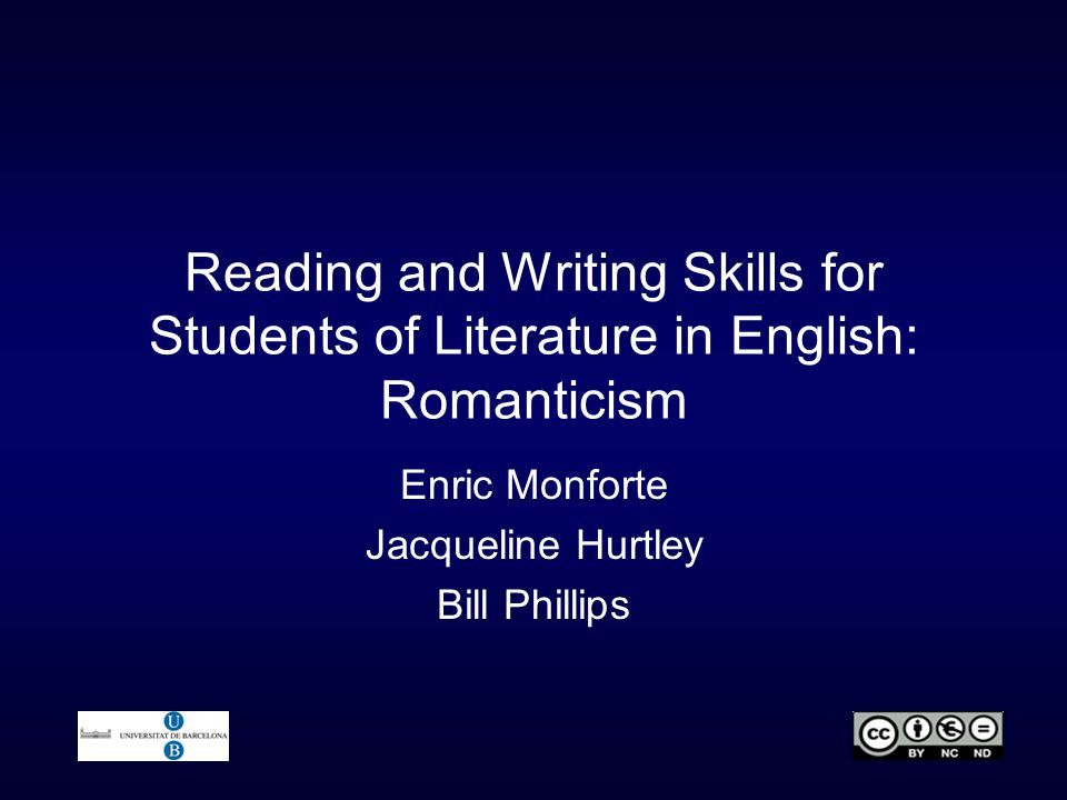 Reading and Writing Skills for Students of Literature in English: Romanticism Enric Monforte Jacqueline Hurtley Bill Phillips