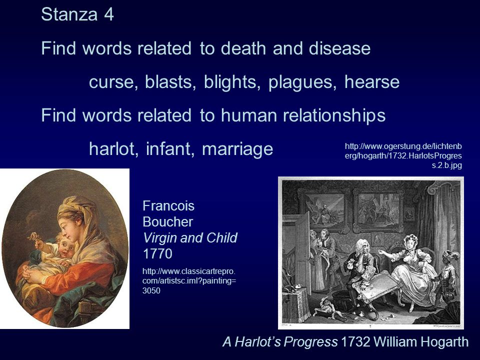 Stanza 4 Find words related to death and disease curse, blasts, blights, plagues, hearse Find words related to human relationships harlot, infant, marriage Francois Boucher Virgin and Child 1770 http://www.classicartrepro.