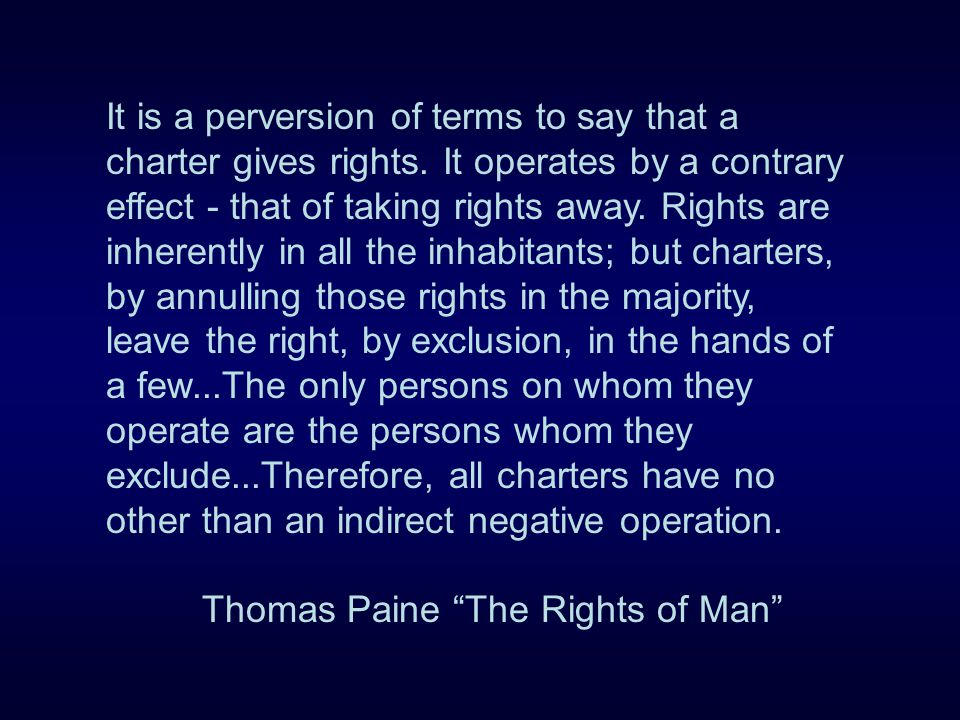 It is a perversion of terms to say that a charter gives rights.
