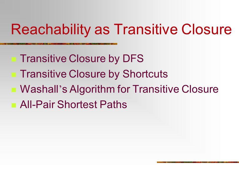 Reachability as Transitive Closure Transitive Closure by DFS Transitive Closure by Shortcuts Washall ' s Algorithm for Transitive Closure All-Pair Sho