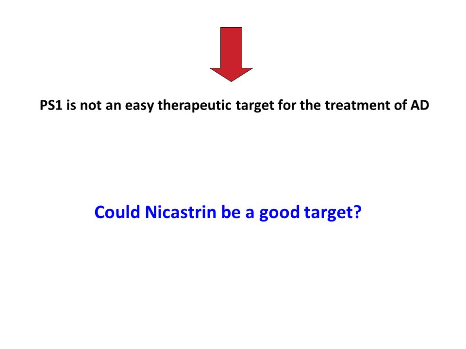 PS1 is not an easy therapeutic target for the treatment of AD Could Nicastrin be a good target