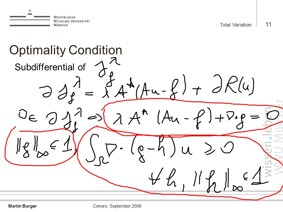 Martin Burger Total Variation 11 Cetraro, September 2008 Optimality Condition Subdifferential of