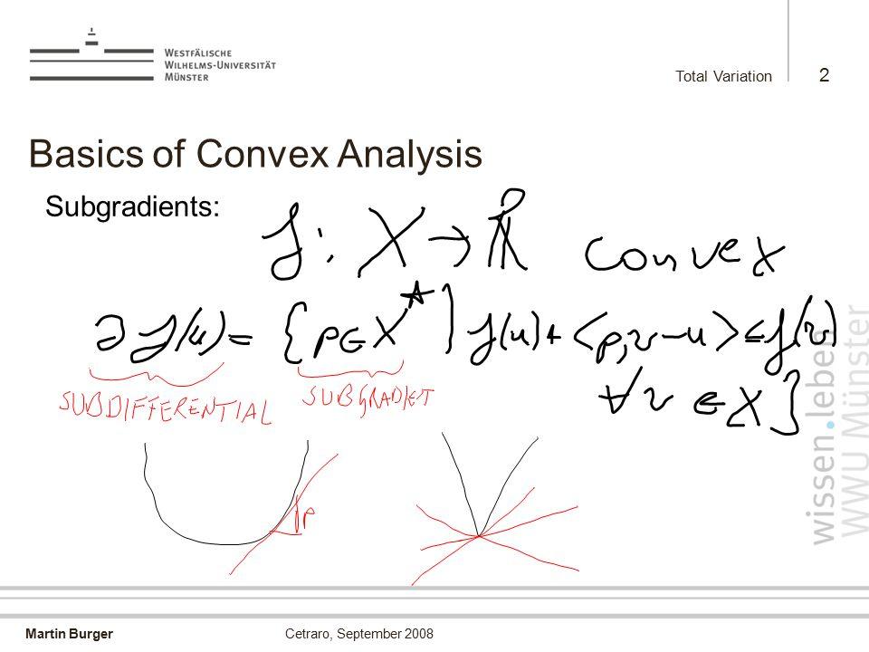 Martin Burger Total Variation 2 Cetraro, September 2008 Basics of Convex Analysis Subgradients: