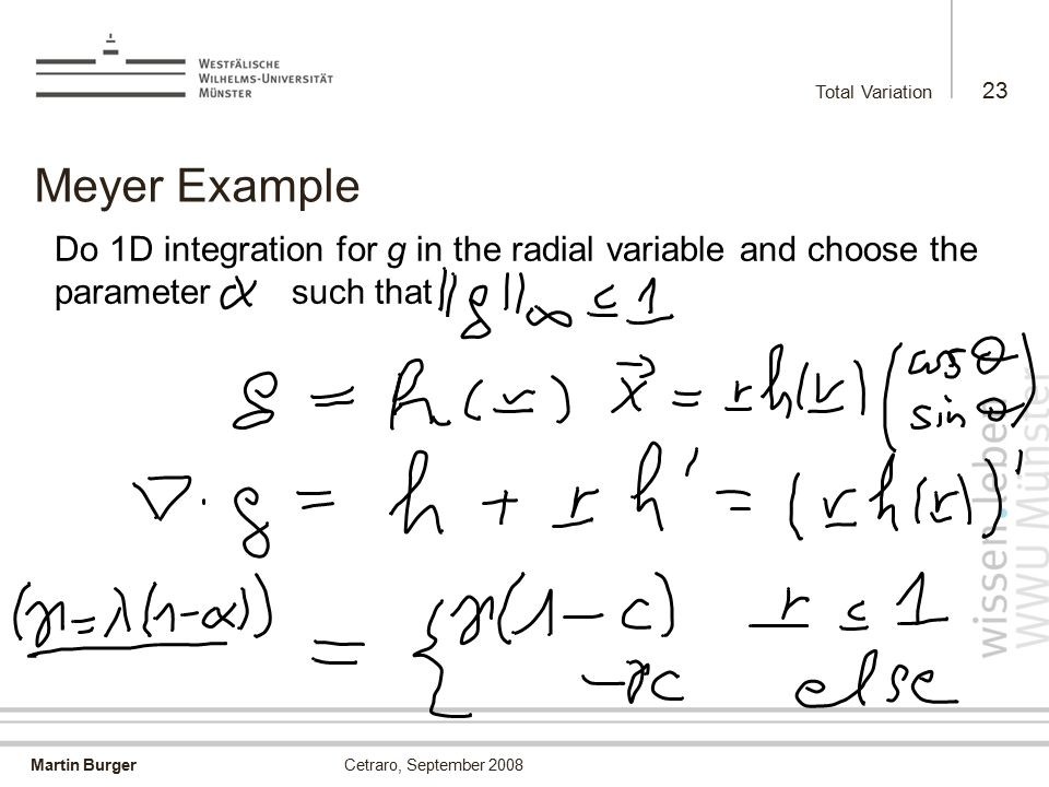 Martin Burger Total Variation 23 Cetraro, September 2008 Meyer Example Do 1D integration for g in the radial variable and choose the parameter such th