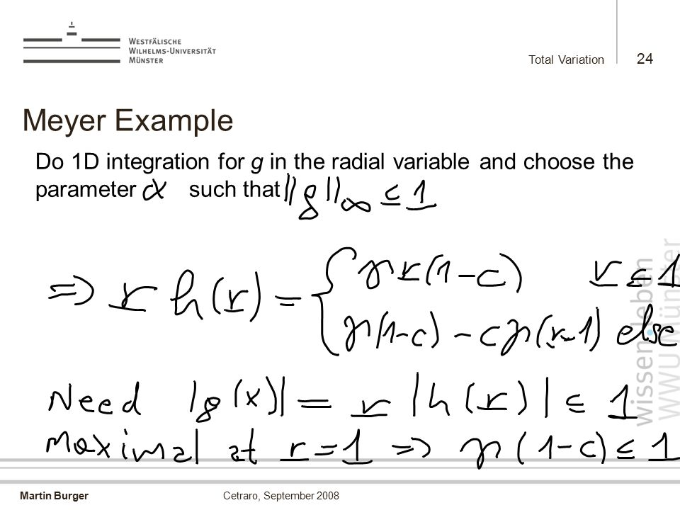 Martin Burger Total Variation 24 Cetraro, September 2008 Meyer Example Do 1D integration for g in the radial variable and choose the parameter such that