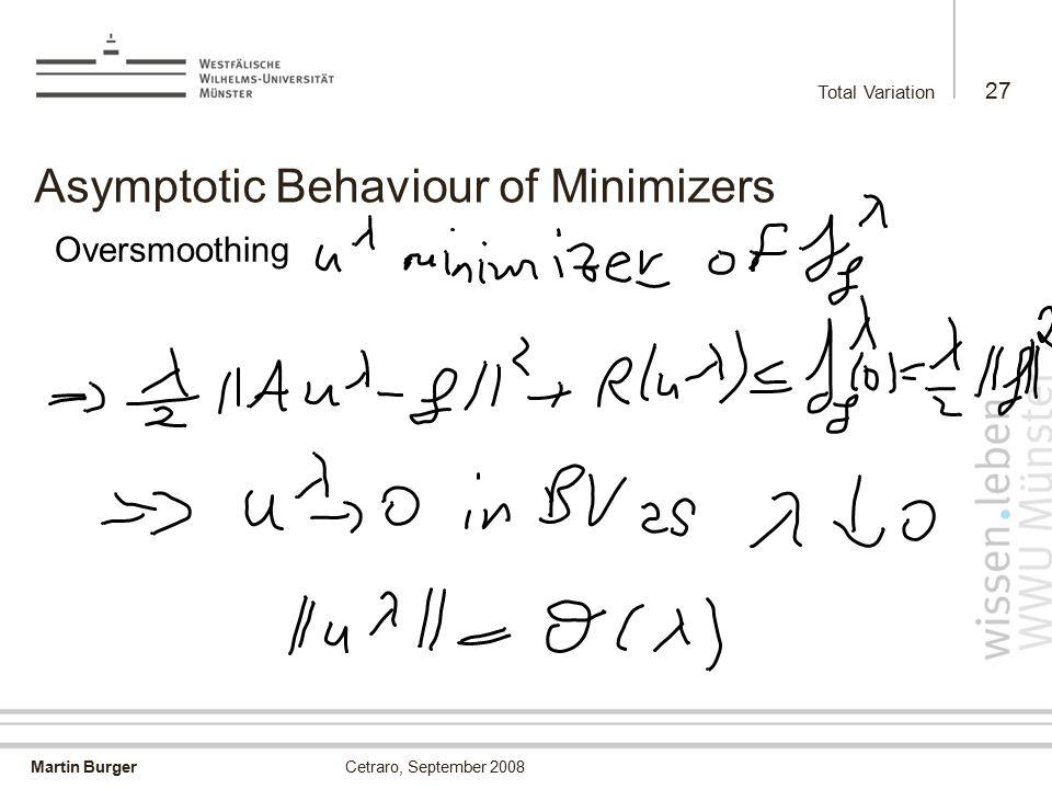 Martin Burger Total Variation 27 Cetraro, September 2008 Asymptotic Behaviour of Minimizers Oversmoothing