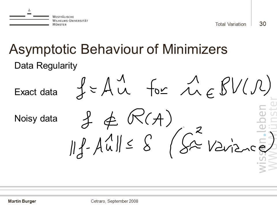Martin Burger Total Variation 30 Cetraro, September 2008 Asymptotic Behaviour of Minimizers Data Regularity Exact data Noisy data
