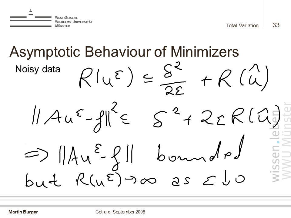 Martin Burger Total Variation 33 Cetraro, September 2008 Asymptotic Behaviour of Minimizers Noisy data