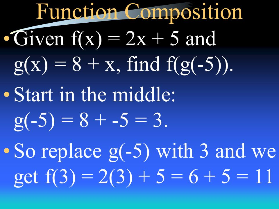 Function Composition Given f(x) = x 2 + x and g(x) = x - 4, find f(g(x)) and g(f(x)).