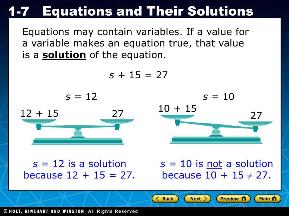 Holt CA Course 1 1-7 Equations and Their Solutions equation solution Vocabulary