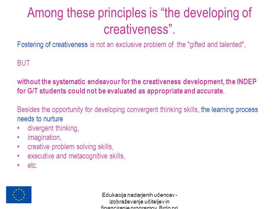 """Edukacija nadarjenih učencev - izobraževanje učiteljev in financiranje programov, Brdo pri Kranju, oktober 2007 Among these principles is """"the develop"""