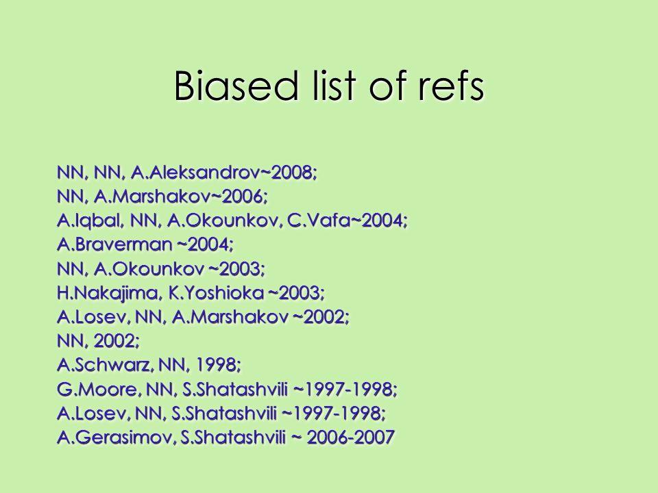 Biased list of refs NN, NN, A.Aleksandrov~2008; NN, A.Marshakov~2006; A.Iqbal, NN, A.Okounkov, C.Vafa~2004; A.Braverman ~2004; NN, A.Okounkov ~2003; H