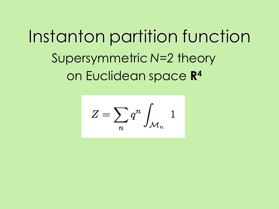 Instanton partition function Supersymmetric N=2 theory on Euclidean space R 4