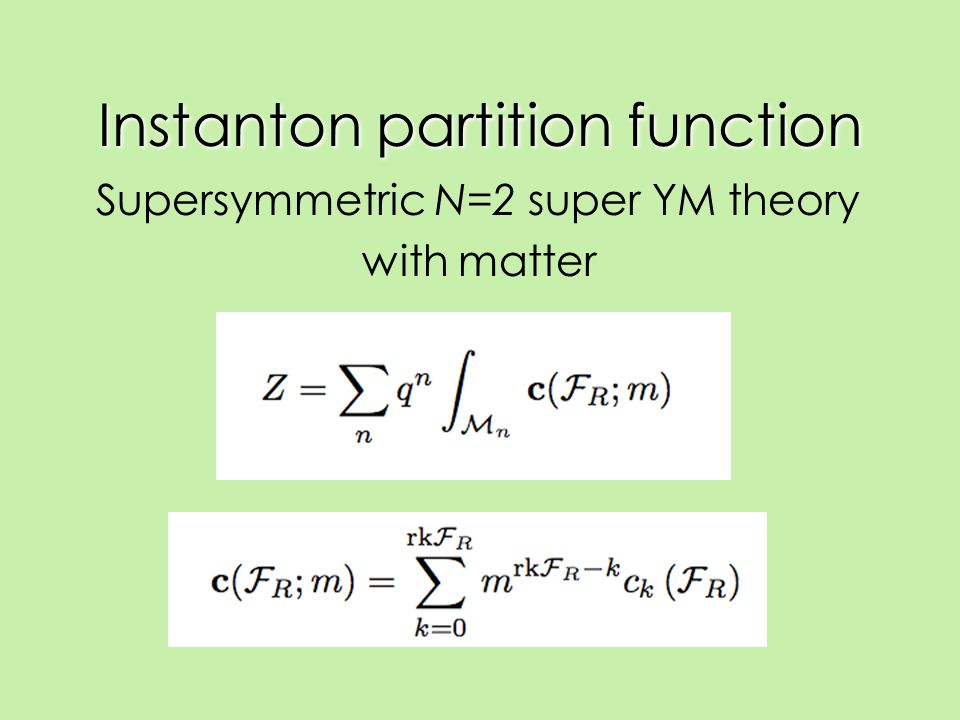 Instanton partition function Supersymmetric N=2 super YM theory with matter