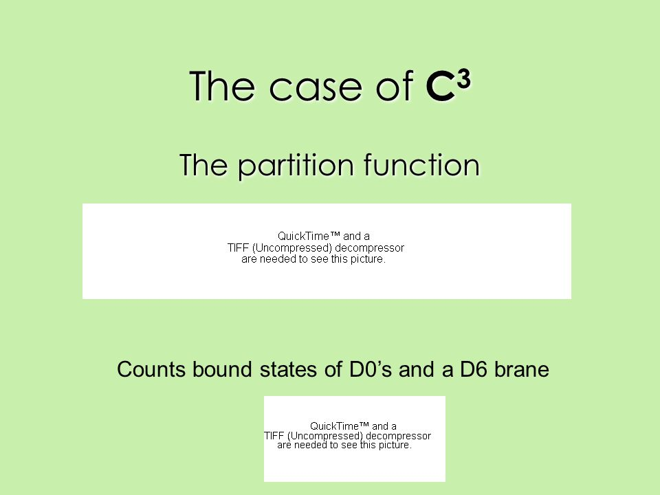 The case of C 3 The partition function Counts bound states of D0's and a D6 brane