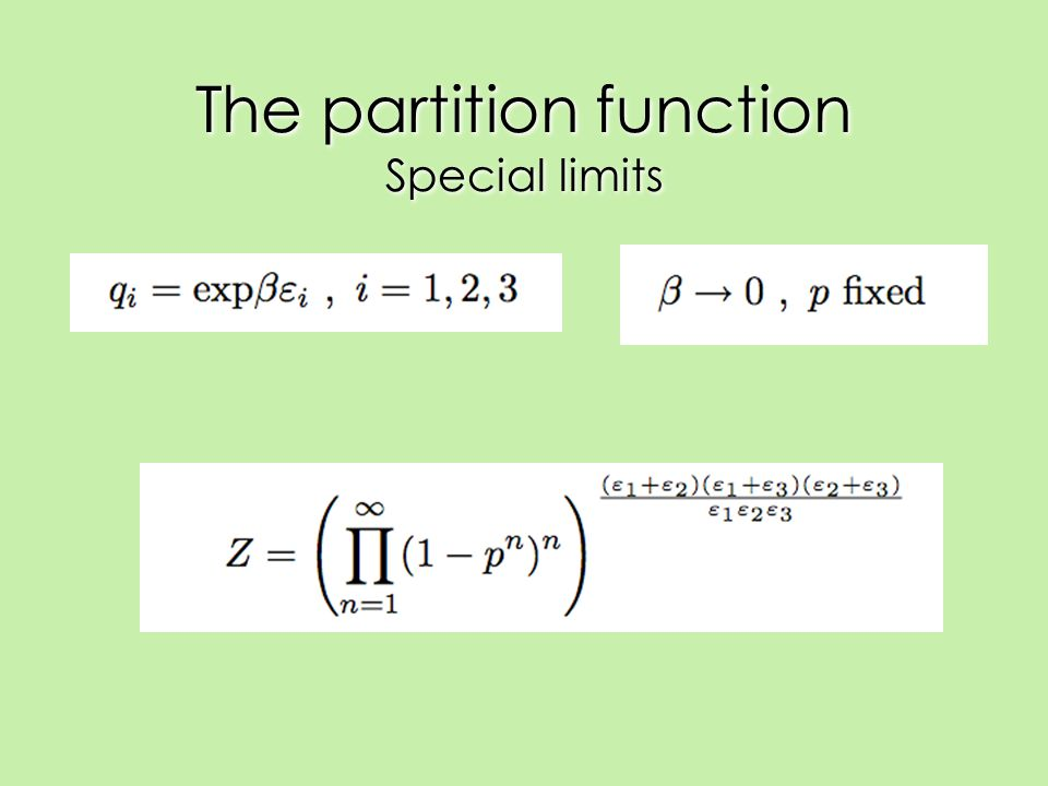 The partition function Special limits