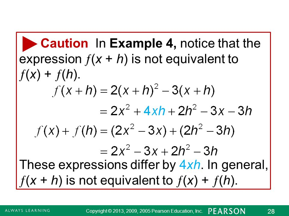 2.8 - 28 Copyright © 2013, 2009, 2005 Pearson Education, Inc. 28 Caution In Example 4, notice that the expression  (x + h) is not equivalent to  (x)