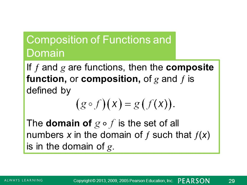 2.8 - 29 Copyright © 2013, 2009, 2005 Pearson Education, Inc. 29 Composition of Functions and Domain If  and g are functions, then the composite func