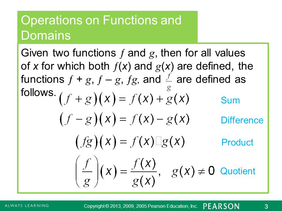 2.8 - 3 Copyright © 2013, 2009, 2005 Pearson Education, Inc. 3 Operations on Functions and Domains Given two functions  and g, then for all values of