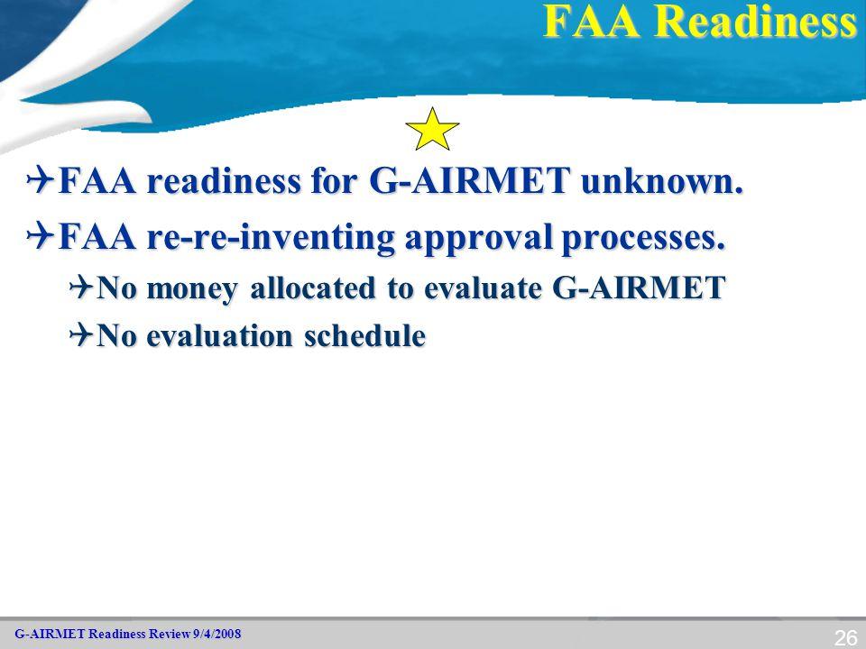 G-AIRMET Readiness Review 9/4/2008 26 FAA Readiness  FAA readiness for G-AIRMET unknown.  FAA re-re-inventing approval processes.  No money allocat